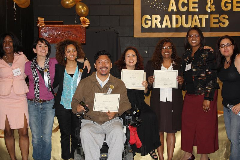 Group photo of Academic and Career Upgrading Program Graduates holding certificates