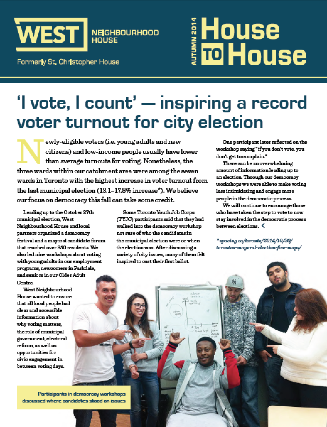 West Neighbourhood House House to House Newsletter Fall 2014.