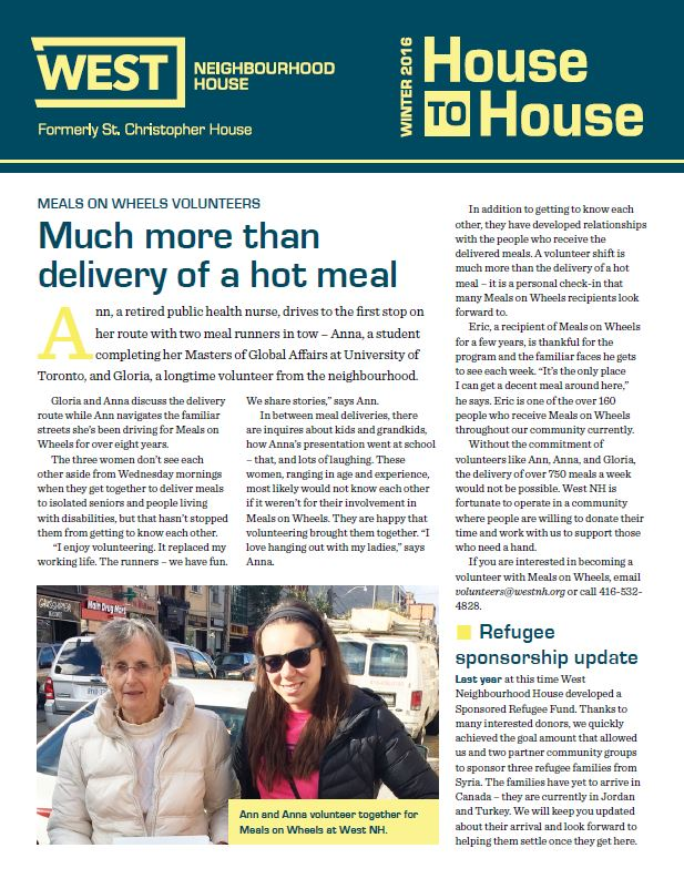 House to House Newsletter—Winter 2016