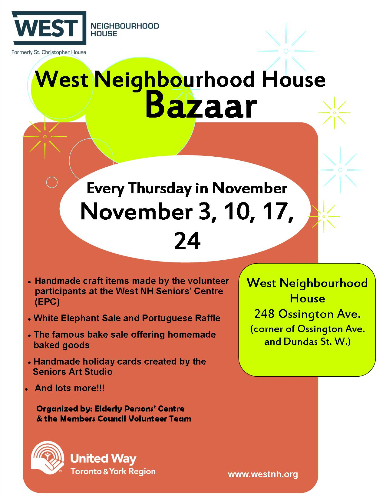 Seniors Bazaar happening every Thursday in November