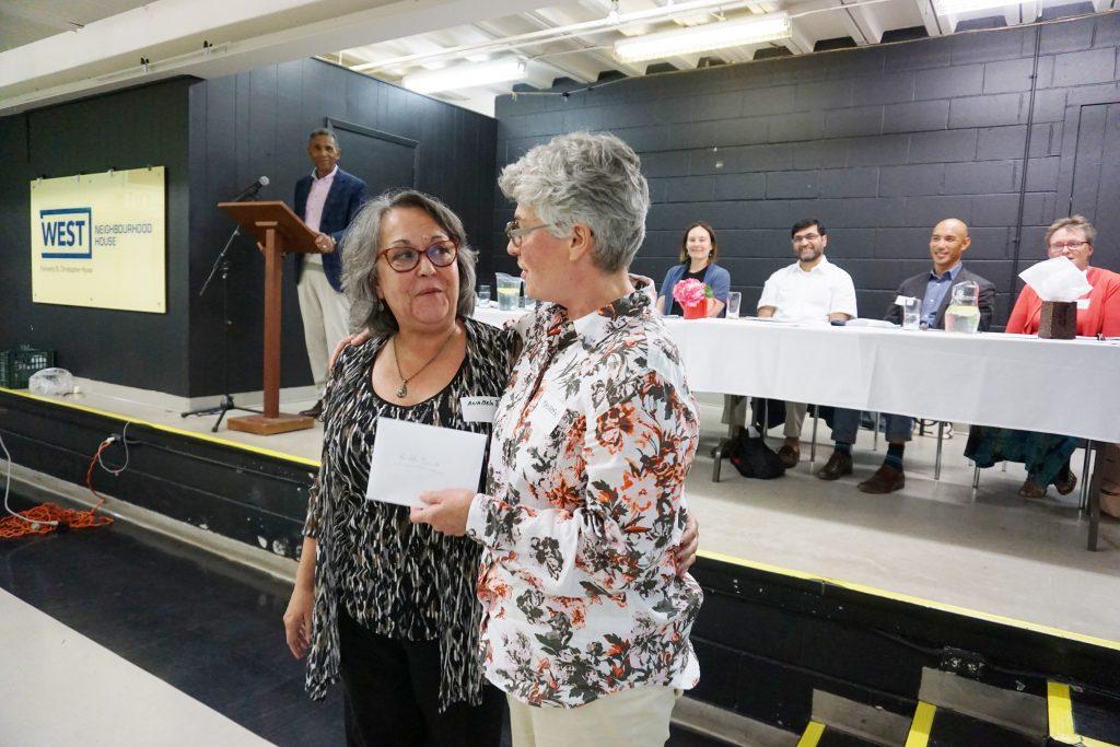 AnaBela Taborda receiving the Sir James Woods Award in 2018
