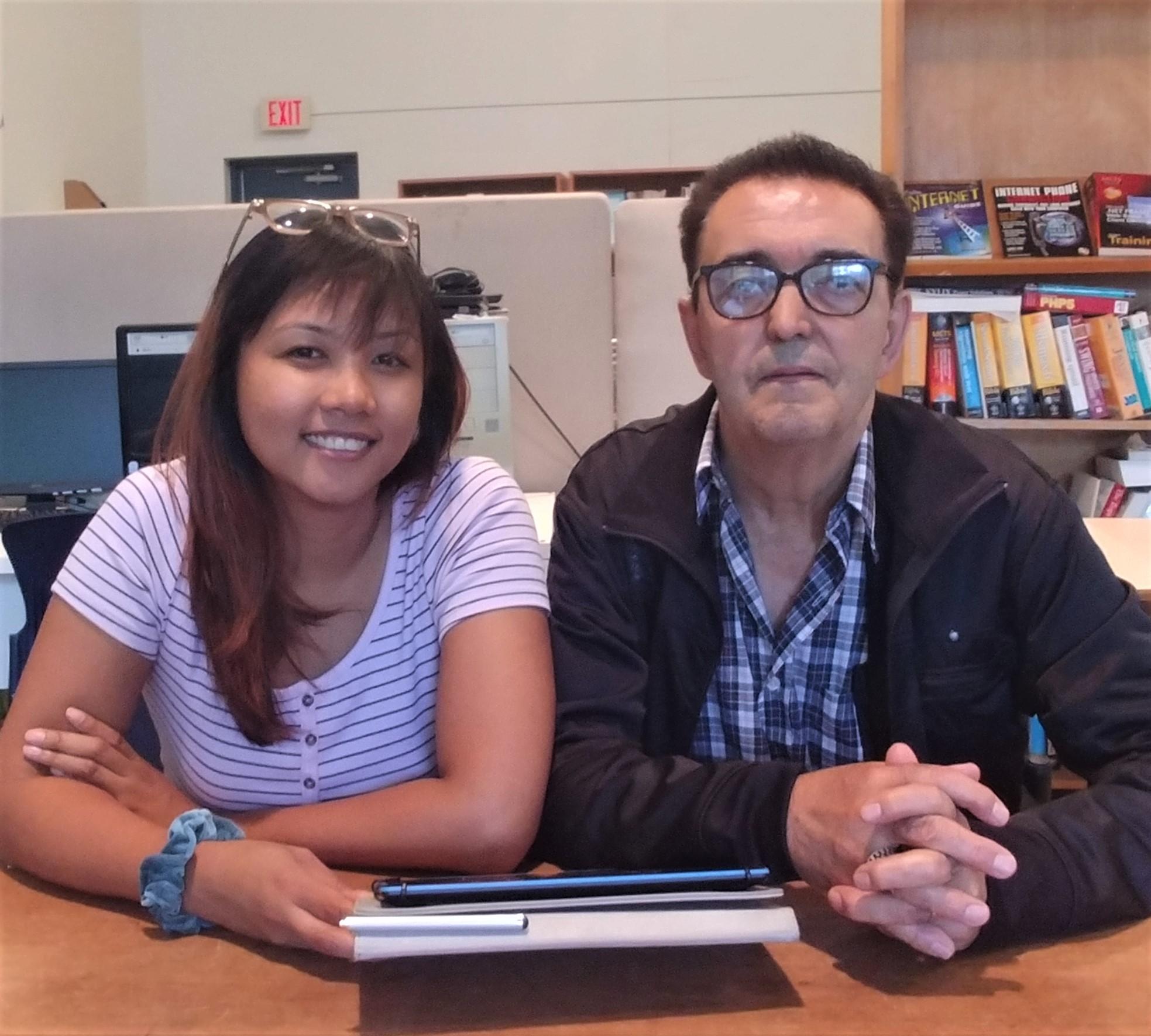 Katrina (volunteer) and John (participant), Bang the Drum Computer Program