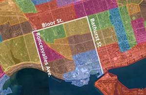 map of mutual aid area bounded by bathurst, bloor, lake ontario and roncesvalles