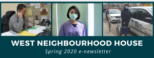 newsletter header for spring 2020 with pictures of people doing their work using personal protective equipment