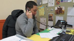FEPS program worker provides counselling over the phone