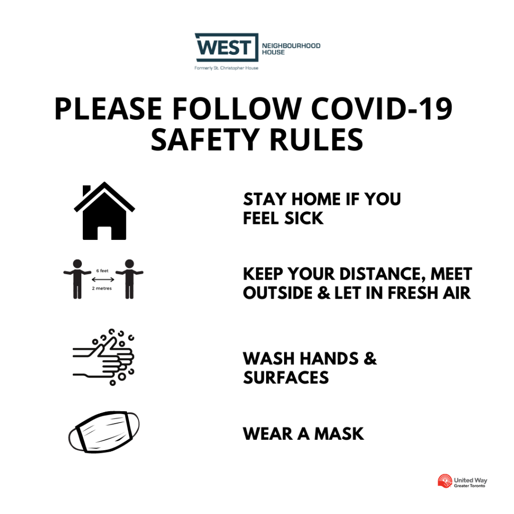 please follow covid-19 safety rules - stay home if you feel sick, keep your distance, meet outside and let in fresh air, wash hands and surfaces, and wear a mask