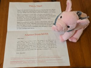 """This is Nigel"" the letter says, with a story about the ""103 acre wood."" The stuffed animal is a small pig with a small knitted bandana"