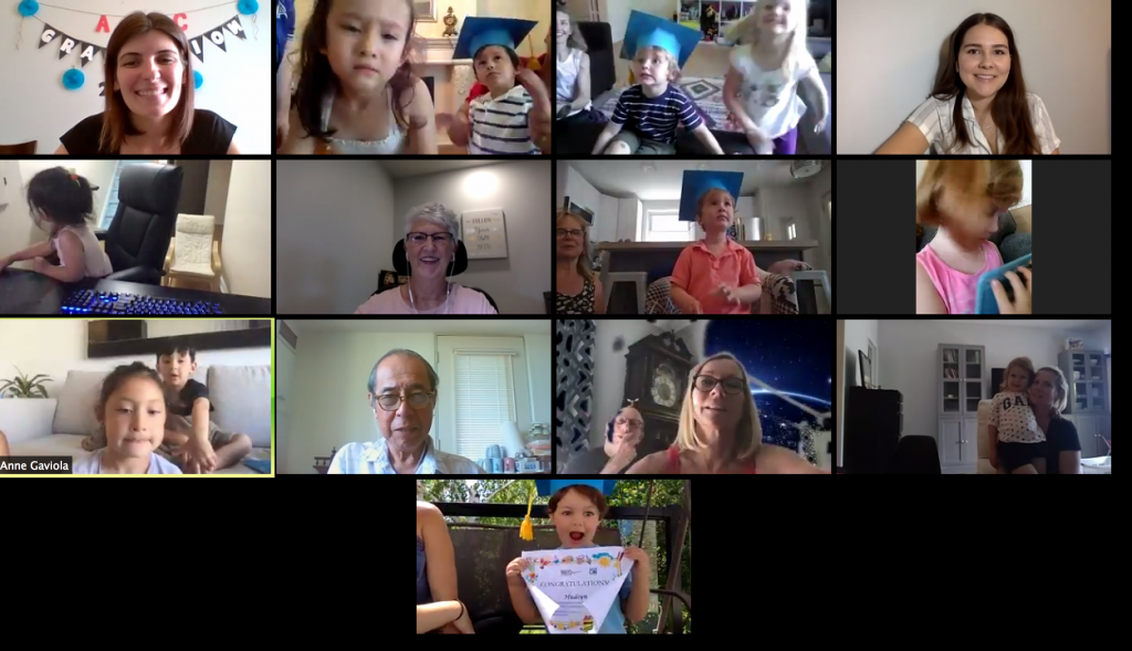 preschool graduation taking place on Zoom with grandparents, kids and childcare workers celebrating