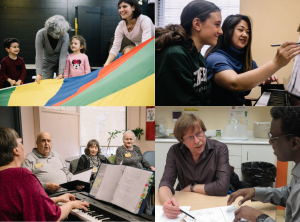 A collage of four photos of programs taking place. Preschool children play with a program worker and a large fabric parachute, a teacher gives a piano lesson to a teenager, Sherry leads a music class in the Adult Day Services program, and a GED instructor works one-on-one with a learner.