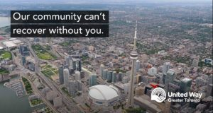 """Toronto skyline with the words """"our community can't recover without you"""