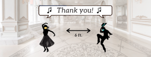 masked dancers in clipart say thank you