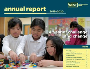 cover image of the annual report with table of contents and picture of after school participants playing lego